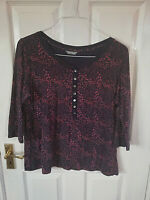 MARKS & SPENCER WOMENS NAVY BLUE BLOUSE TOP SIZE 16 FLORAL STRETCH 3/4 SLEEVE