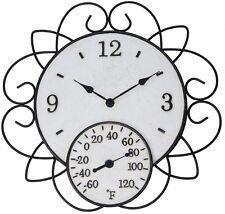 Garden Treasures Indoor Outdoor Ivory and Rusty Steel Modern Thermometer Clock