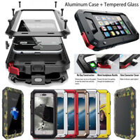 Waterproof Shockproof Glass Full Metal Case Cover for iPhone 6s 7 8 Plus 6 5S SE