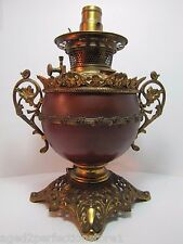 Antique B&H Bradley Hubbard Oil Lamp electric conversion ornate brass cast iron