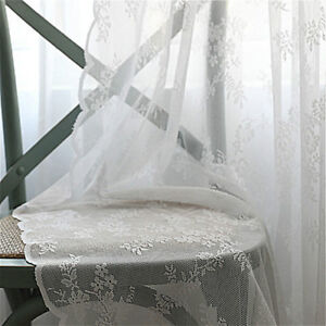 French Mesh Net Curtain Lace Tulle Voile Door Window Panel Drape Divider Flower