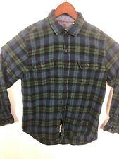 Woolrich Mens M Long Sleeve Button Front Green Flannel