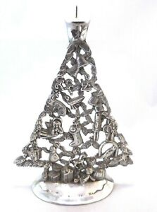 "Metal Christmas Tree Candle Holder Decorated 11"" x 8"" Vintage Godinger"