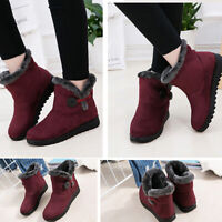Women's Winter Warm Suede Fur Lined Ankle Snow Boots Buckle Slip On Soft Loafers