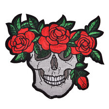 Punk Skull Clothing Patches Rose Red Badges Embroidery Iron-On Biker Applique *