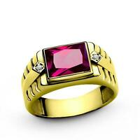 18K Gold ring for Men with Red Ruby and 2 Real Diamond Accents in all sizes
