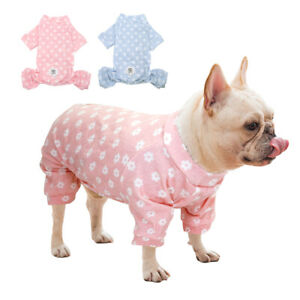 Floral Pet Dog Pajamas Cozy Shirt Jumpsuit Clothes Small Medium Dogs Sleepwear