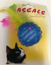 """COASTAL PET RASCALS 1.5"""" FURRY BLUE PINEAPPLE CAT TOY FEATHER. FREE SHIP IN USA"""