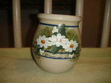 Yesteryears Hand Turned Pottery Crock-Marshall Texas-Painted Daisy's-Blue Lines