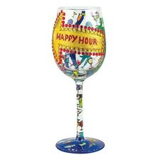 New listing Lolita Love My Wine Happy Hour Hand Painted Multi-Color Wine Glass Retired!