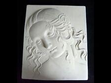 Leonardo da Vinci tête de Léda plaque 21cm fait main copie de secours Plâtre Gypse