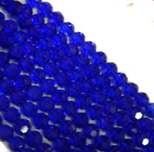 "Blue Transparent 4mm Faceted Round Beads 13"" Strand Glass Crystal Beads"