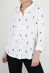 White Stuff Womens Embroidered Floral Cotton Casual Office Work Ladies Shirt Top