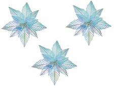 3 x Large Iridescent Pale Blue Christmas Tree Clip on Flower Decorations