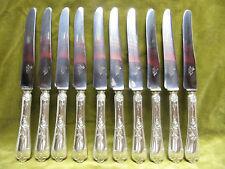 10 couteaux de table métal argenté rocaille Au lion (dinner knives)