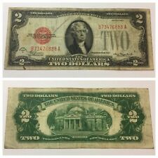 VINTAGE two DOLLAR 1928-C $2 UNITED STATES NOTE BILL JEFFERSON RED SEAL DOLLARS