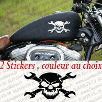 lot 2 sticker autocollant skull tete de mort clé punisher moto réservoir harley