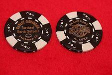 2 Alaska Genuine Harley Davidson Dealer Poker Chips Fairbanks & Anchorage