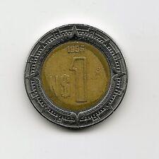 World Coins - Mexico 1 Peso 1995 Bimetallic Coin KM# 550