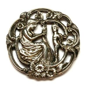 Antique Button ~ Lovely Sterling Silver with Woman and Young Child