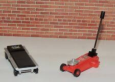 FLOOR JACK AND CREEPER ON WHEELS  DIE CAST FOR 1:18 Scale Cars GARAGE DIORAMA!