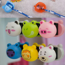 2PCS Cute Cartoon Toothbrush Holder Mount With Suction Grip Wall Rack Bathroom