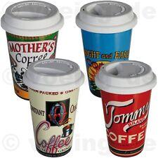 """2x Kaffee-Becher mit Silikondeckel Coffee to go """"Nostalgic Coffee Brand"""" 16x10cm"""