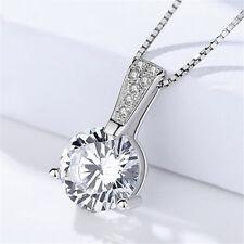 Anhänger für Halskette Solitär echt Sterling Silber 925 Zirkonia Brillantschliff