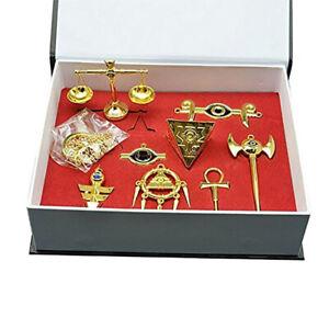 Yu-Gi-Oh! Millennium Puzzle Badge Ring Keychain Necklace Pendant 8pcs Set + Box