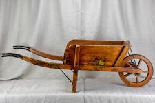 Antique French wooden wheelbarrow