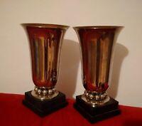 Superbe paire de grands vases Art Deco métal et marbre très bel état décorateur