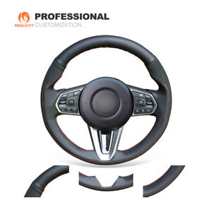 MEWANT Black Suede Leather Car Steering Wheel Cover for Acura RDX 2019-2021