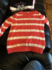 Girls Old Navy Size Small Orange And White Stripped Long Sleeve Sweater. Look