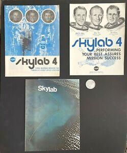 1973 NASA MFA Skylab 4 Crew Poster, Booklet, Brochure / Poster, Flown Metal Coin