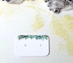 Mini Earring Display Cards Jewellery Earrings Studs - Green Leaves, Small Card