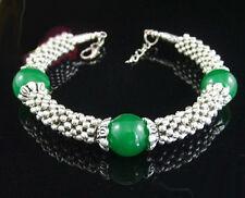 Fashion Green Jade Beads Tibetan Silver Clasp Women Lady Girl Bangle Bracelet