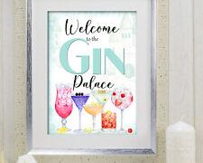 Gin Palace Gin Cocktail Bar Welcome Wall Art Print Sign