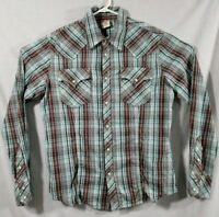 True Religion Men's XL Western Style Blue Plaid Pearl Snap Long Sleeve Shirt EUC