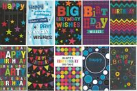 Pack of 10 General Birthday Cards Male / Female Boy or Girl Man or Woman JGB001a