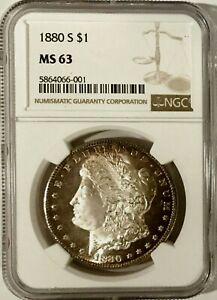 1880 S/S Morgan Dollar NGC MS63 w/ DMPL Obv. Powder-Puff Cameo, VAM 32, Key Var.