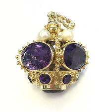 14k Yellow Gold Amethyst & Pearl Large Crown Pendant
