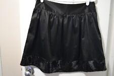 Women's STUDIO Y Satin & Sequin A-line Skirt, S, Solid Black, Cotton Blend, GUC
