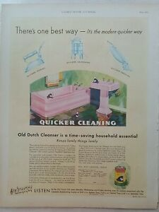1931 Old Dutch cleanser pink bathtub sink  bathroom quick cleaning vintage ad