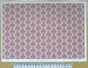 Dolls house 1/12th scale paper - A4 sheet - 'Red damask pattern' wallpaper