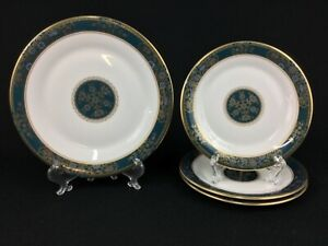 Royal Doulton Carlyle Green White Gold ONE Salad Plate & THREE (3) Bread Plates