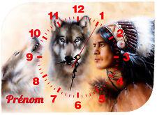 horloge pendule murale indien loup personnalisé prénom au choix réf 58