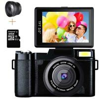 Digital Video Camera Full HD 1080P 24MP Vlogging Camcorder 3.0 Inch Flip Screen
