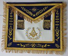 Masonic Apron-Master Mason Apron Navy Blue Gold G Embroidery with Fringe