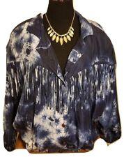 MURELI Original 80's Vintage 100% Silk Tie-Dye Fringe Jacket - Navy Blue XL