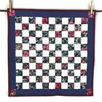 Hand Made Quilted Mini Doll Quilt Table Runner Mat Topper Floral Navy 23x23 NEW